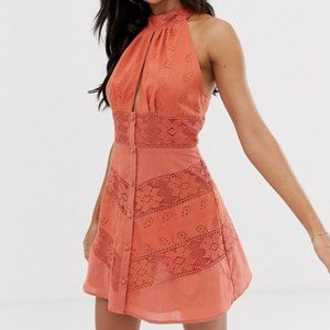 ASOS Rust Lace Button Halterneck Backless Dress